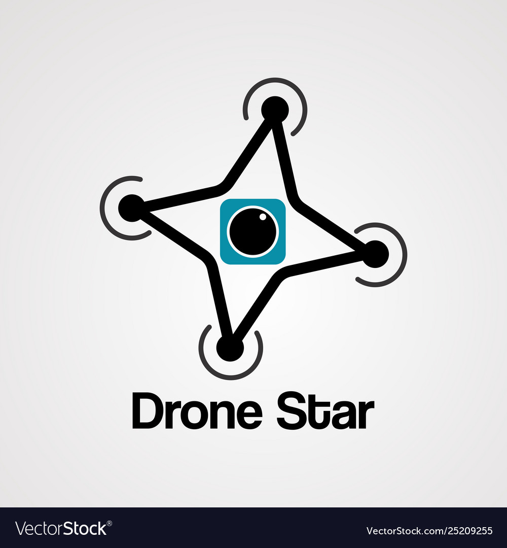 Drone star logo icon element and template