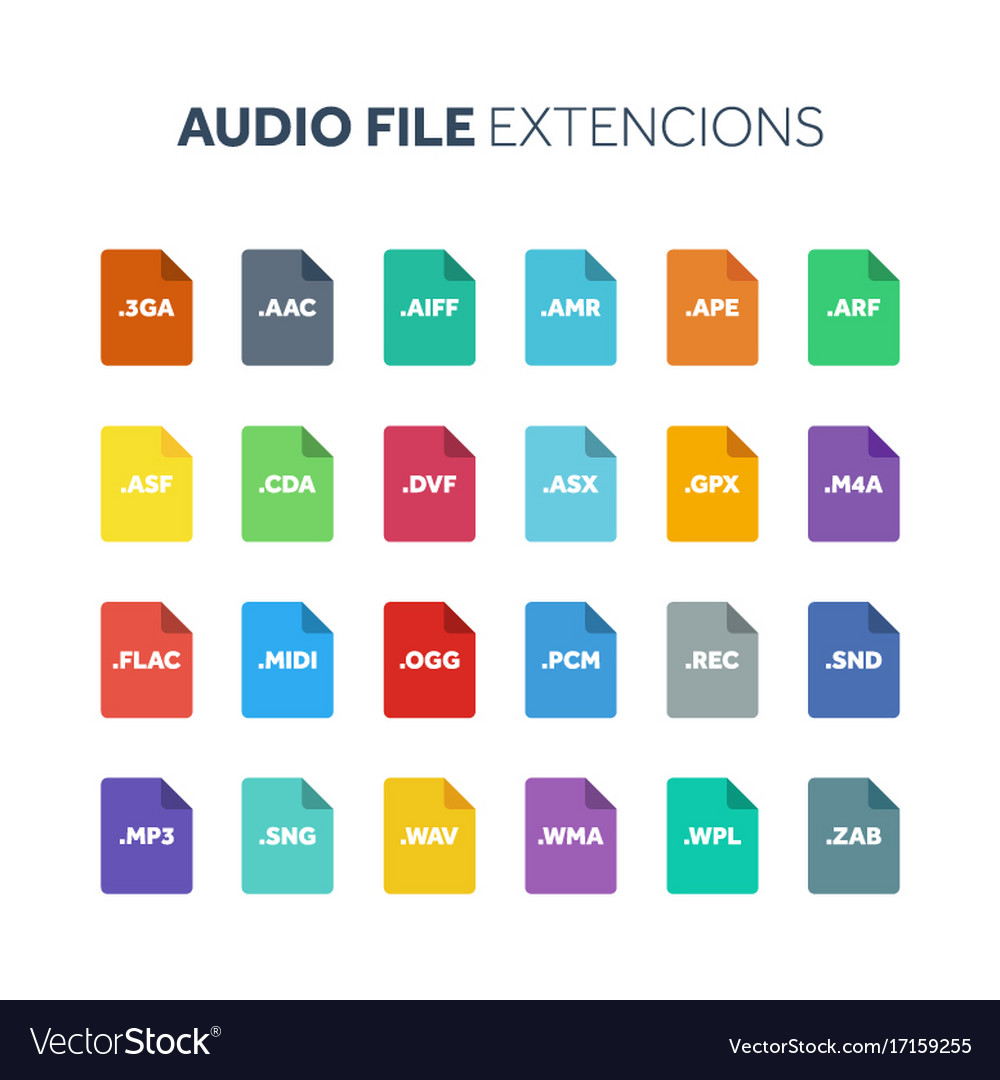 Flat style icon set audio song voice recording