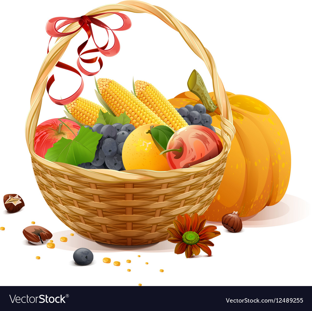 Fruits and vegetables in wicker basket Rich