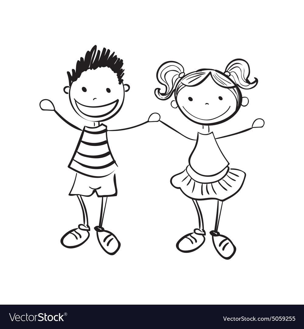 Открытка, мальчик и девочка черно белые картинки
