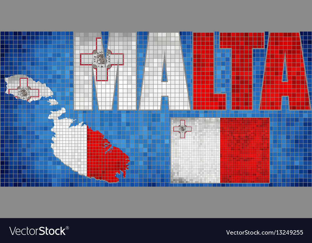 Mosaic map and flag of malta