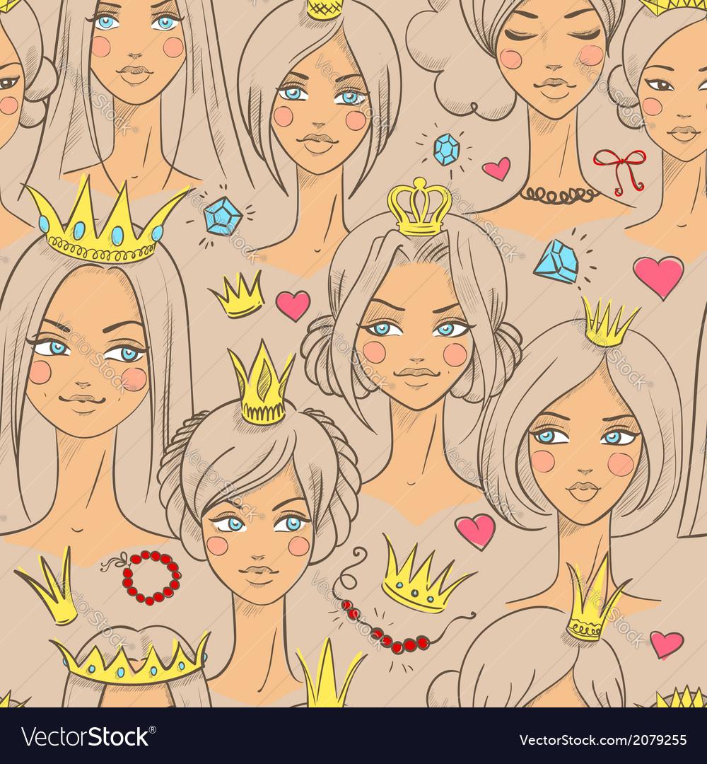 Seamless pattern with beautiful princesses