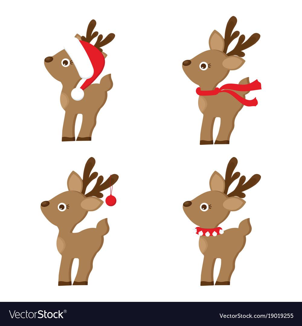 Set of christmas reindeer vector image