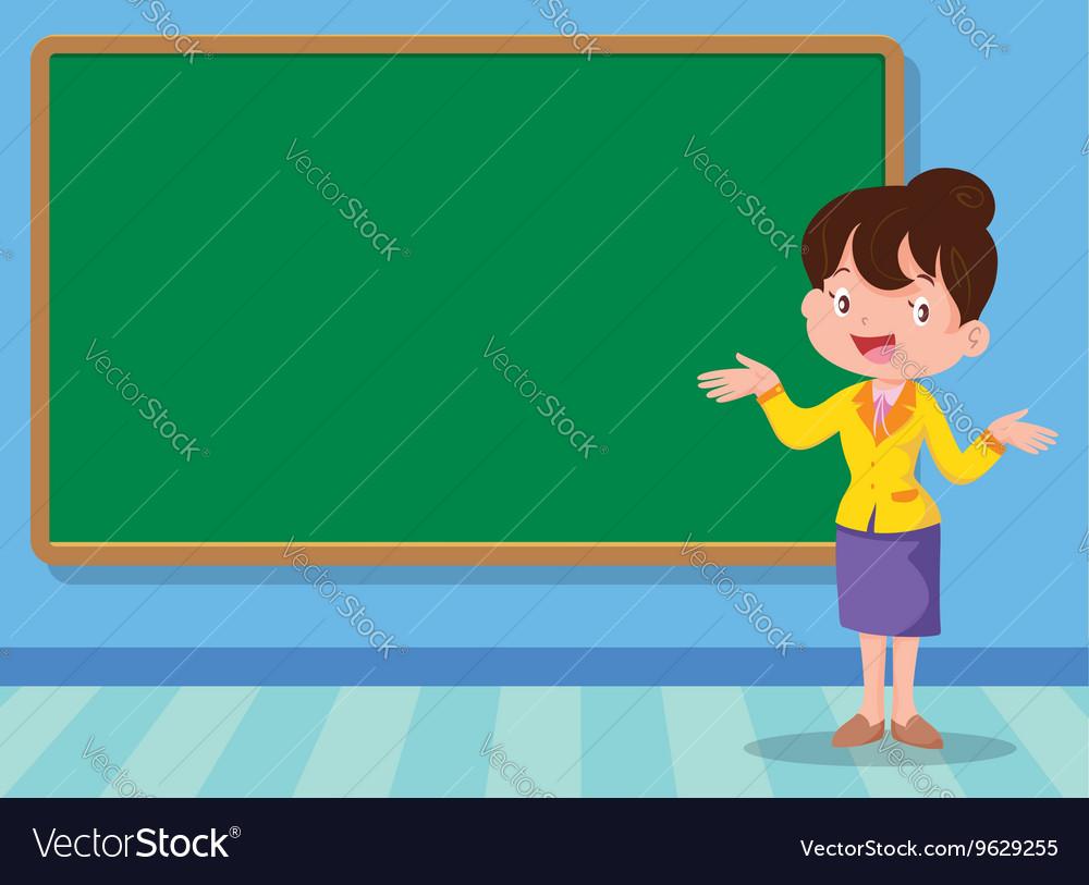 Teacher and backboard