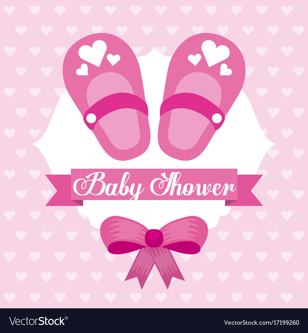 1252c78867809 Baby shower card girl shoe bow celebration Vector Image