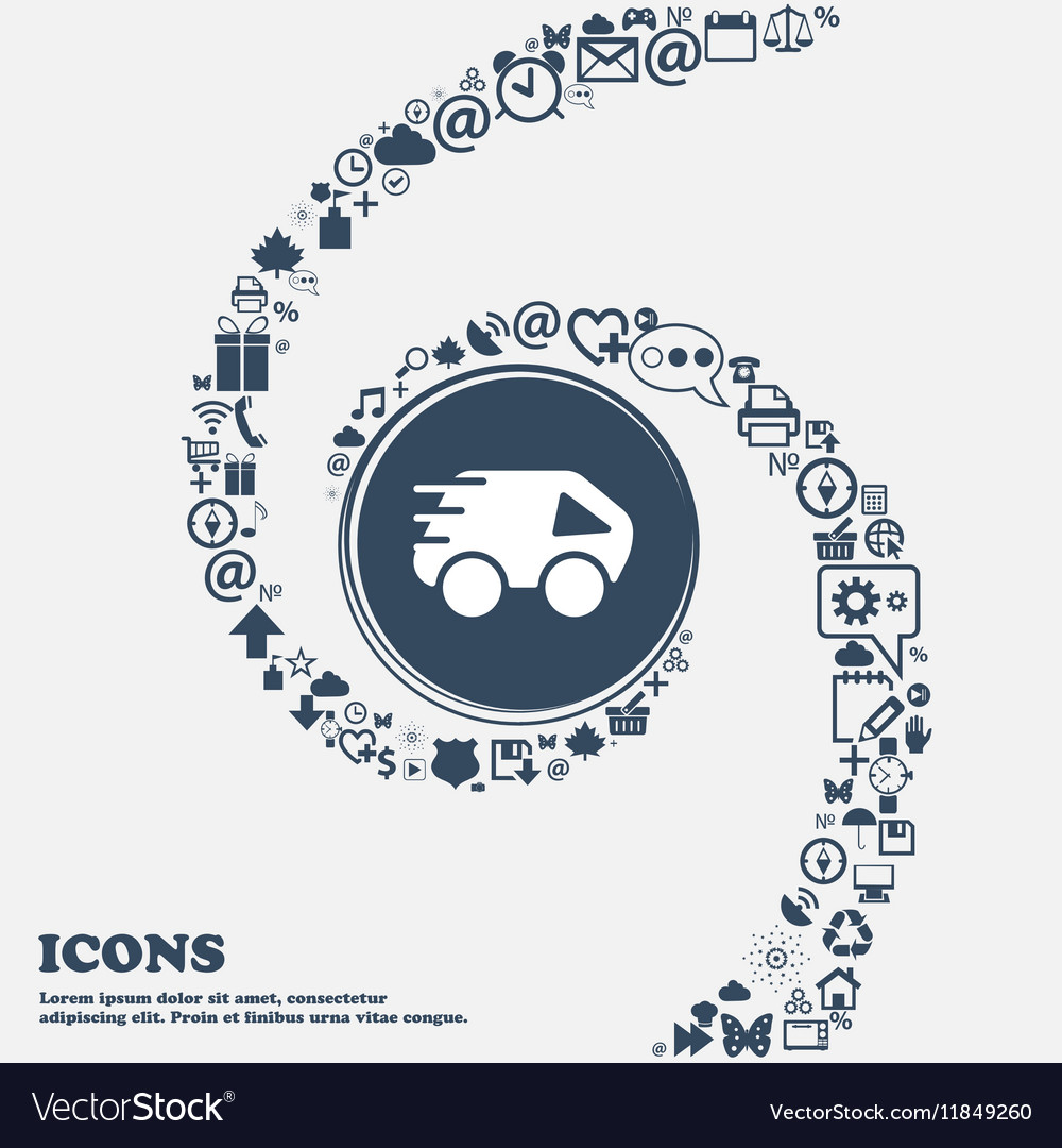 Car Icon in the center Around the many beautiful vector image