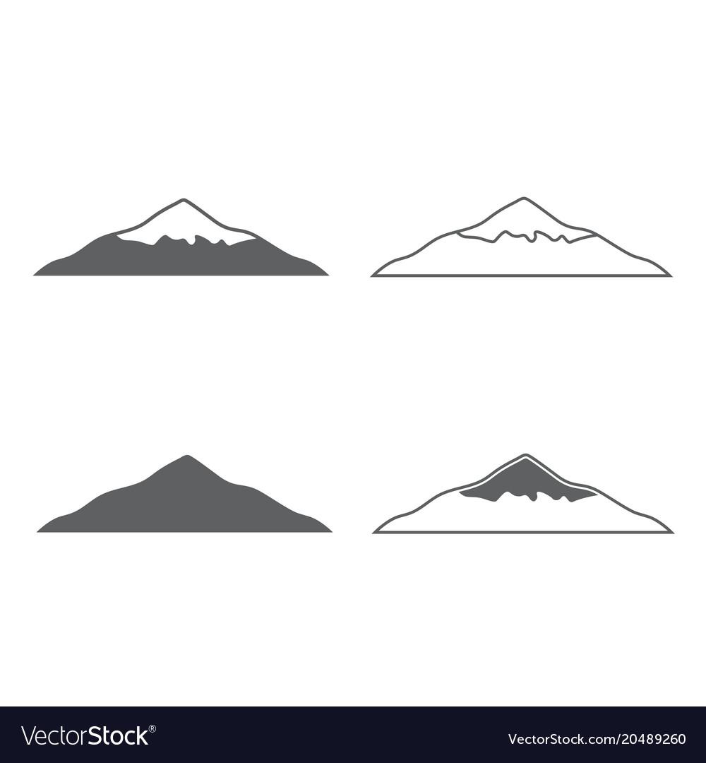 Mountset of monochrome forms of mountains