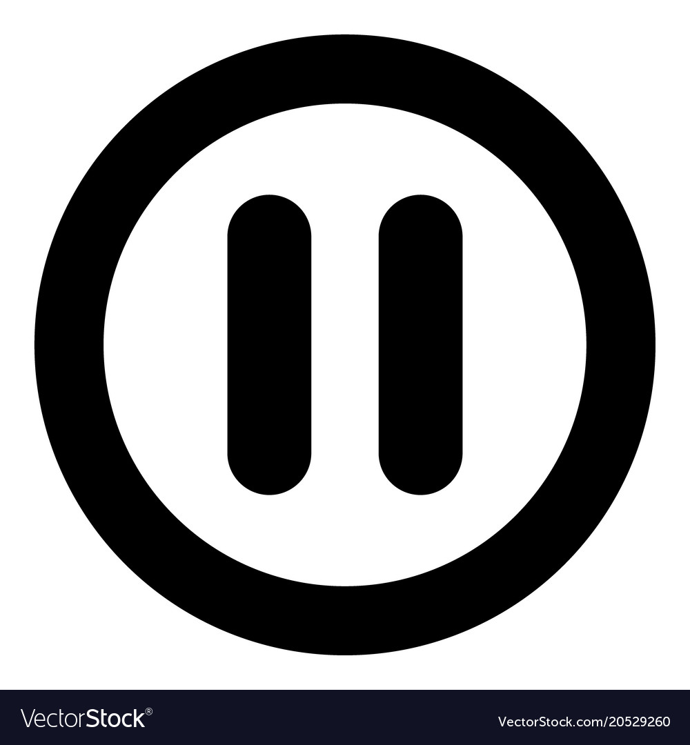 pause icon black color in circle royalty free vector image