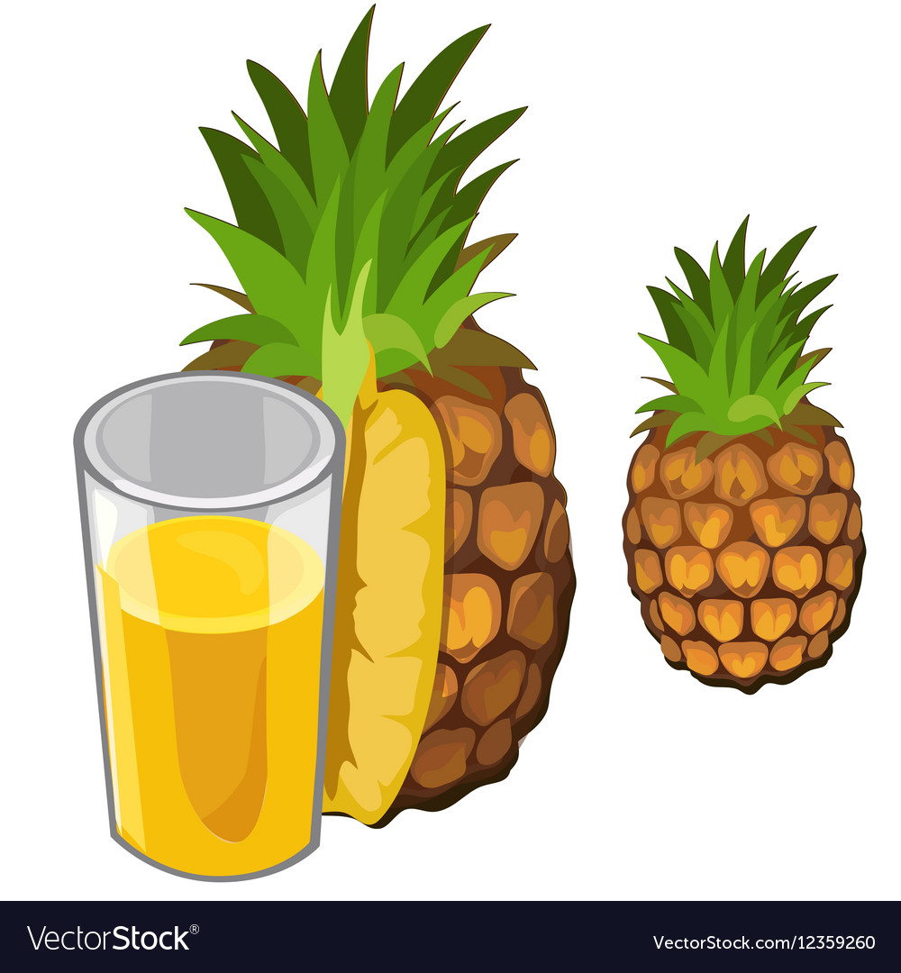 Pineapple juice and fruit drinks isolated