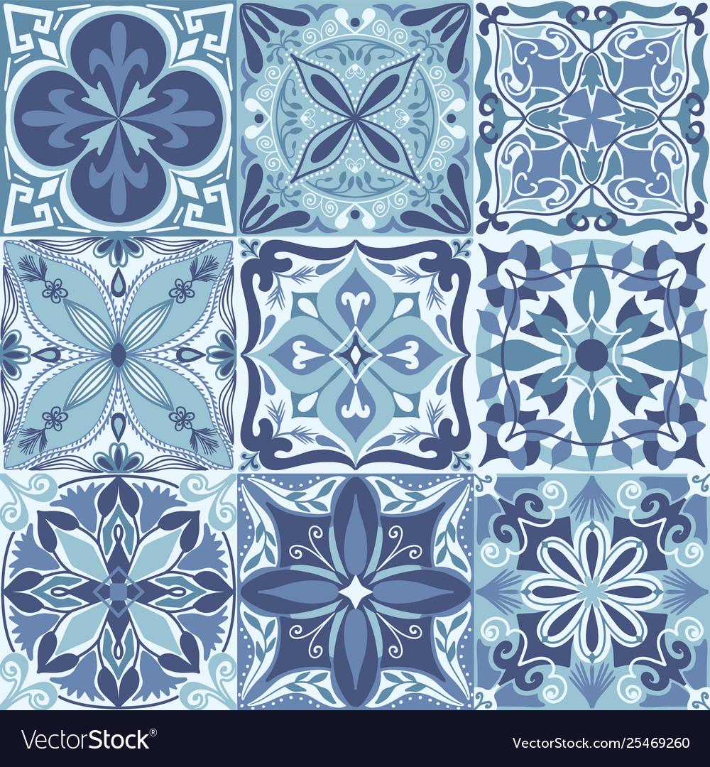 Portuguese azulejo tiles seamless pattern