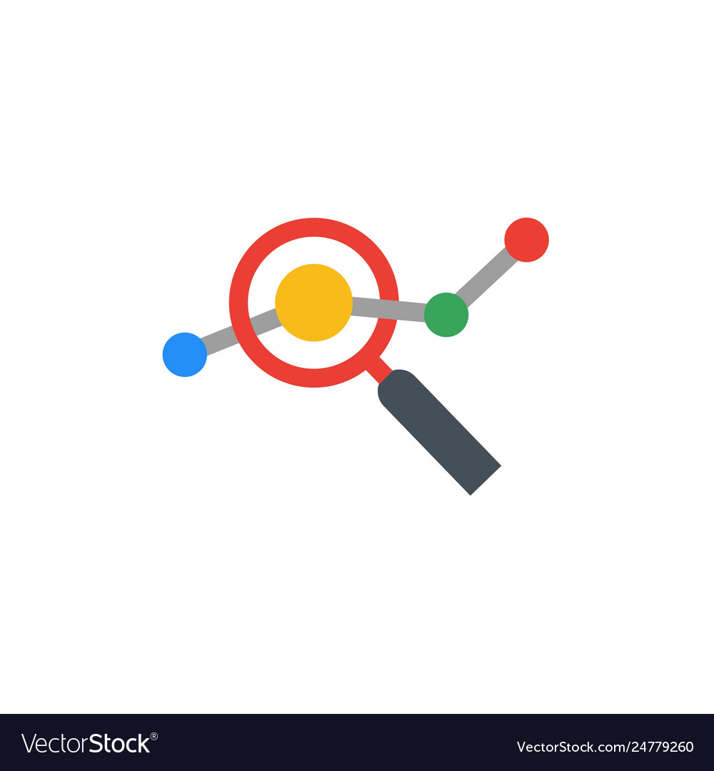 Seo flat design logo with magnifying glass