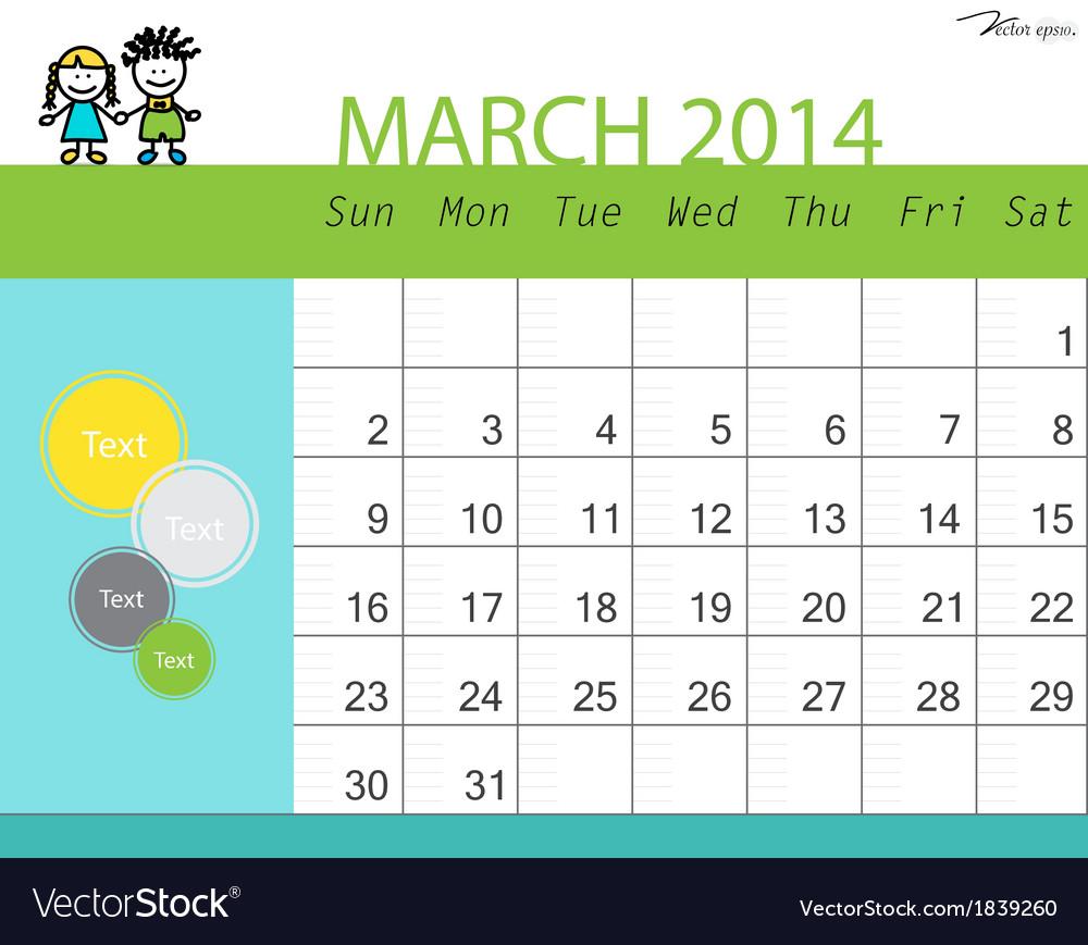 Simple 2014 calendar march