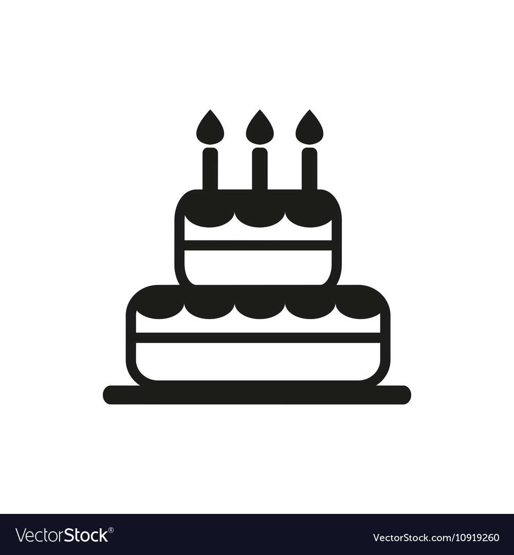 Simple black cake icon on white background