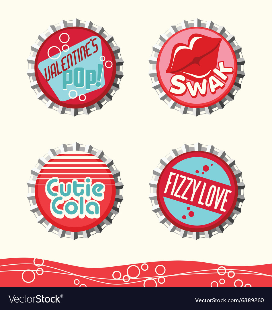 Valentine Bottle Caps 1 Royalty Free Vector Image