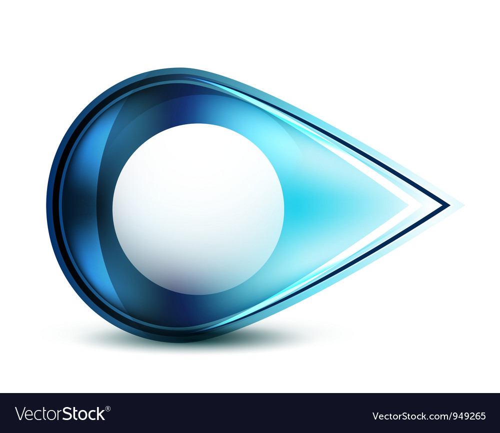 Blue glossy abstract pointer vector image