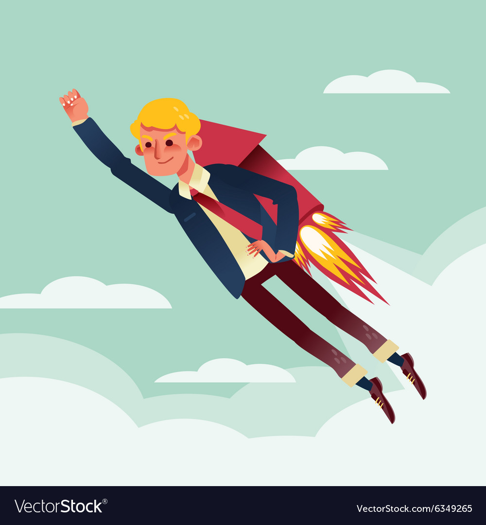 ba02f17a0de Businessman flying with rocket backpack cartoon Vector Image