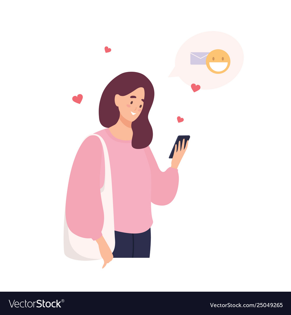 Cute happy girl holding cellphone using mobile