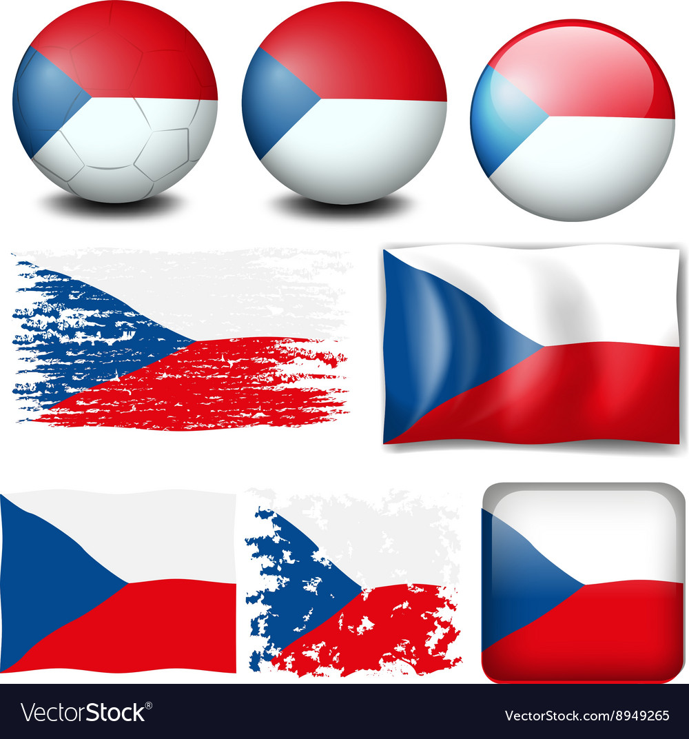 Czech Republic flag in different designs