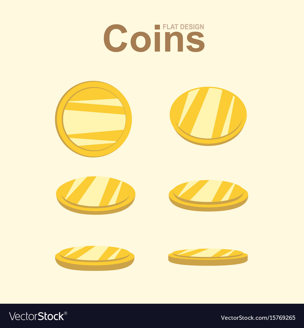 Golden coin in different position gold money
