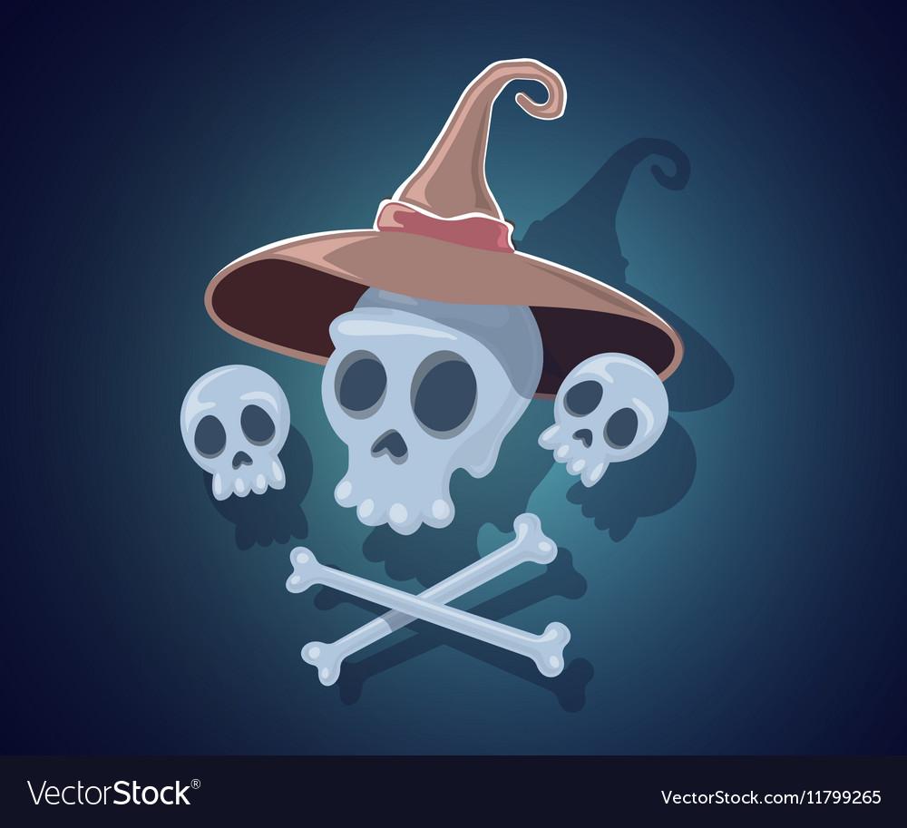 Halloween with skulls crossbones witch hat