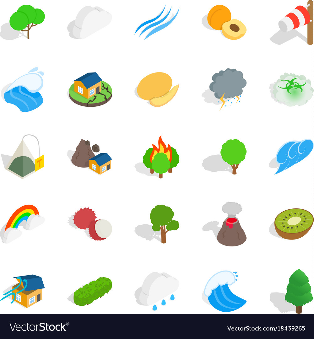 Horticulture icons set isometric style vector image