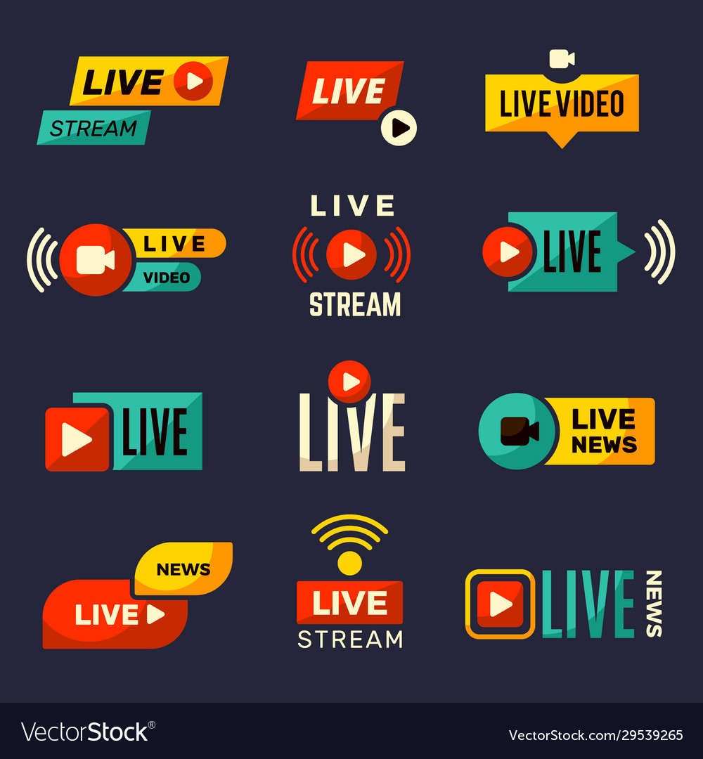 Live stream icon news or movie broadcasting play