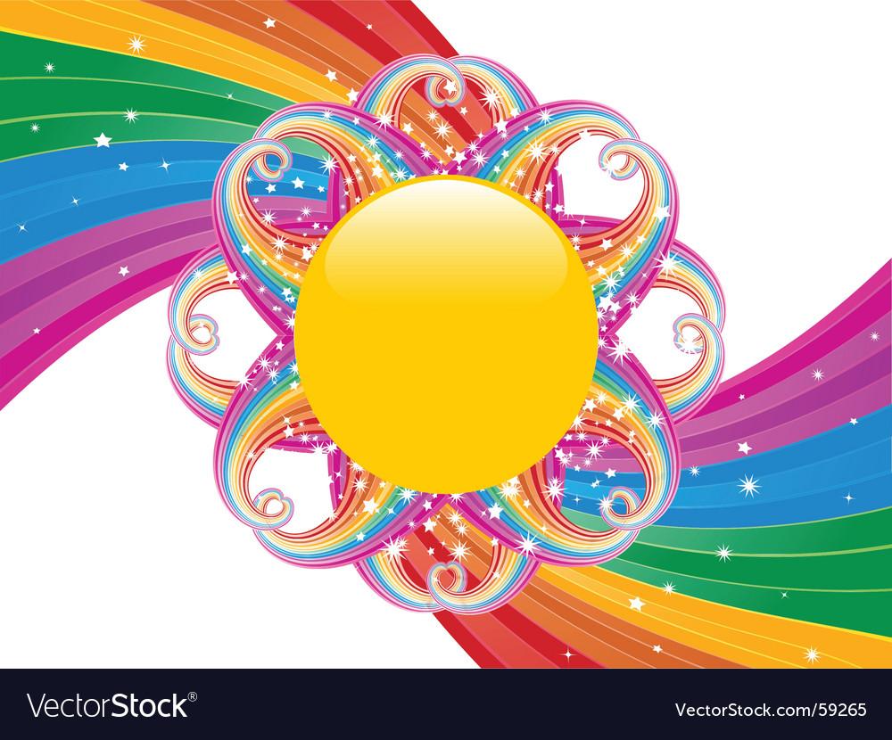 Rainbow swirl and sun vector image