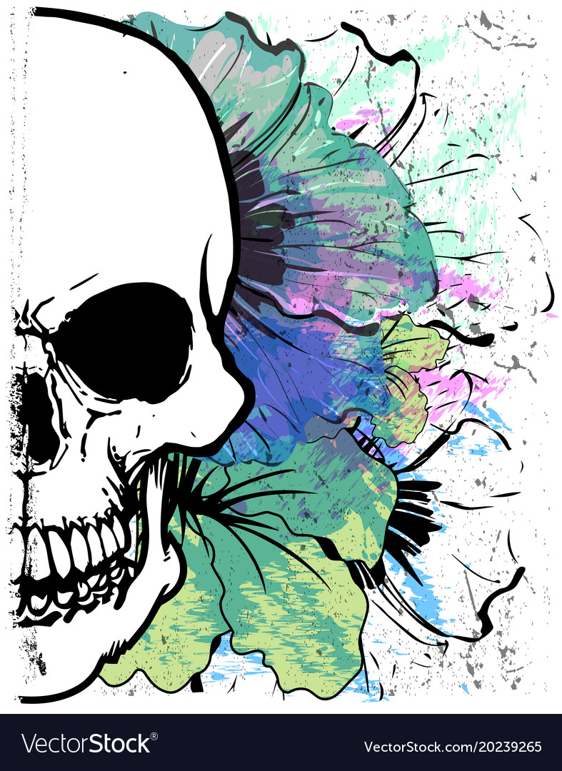 Skull watercolor t shirt graphic design vector image