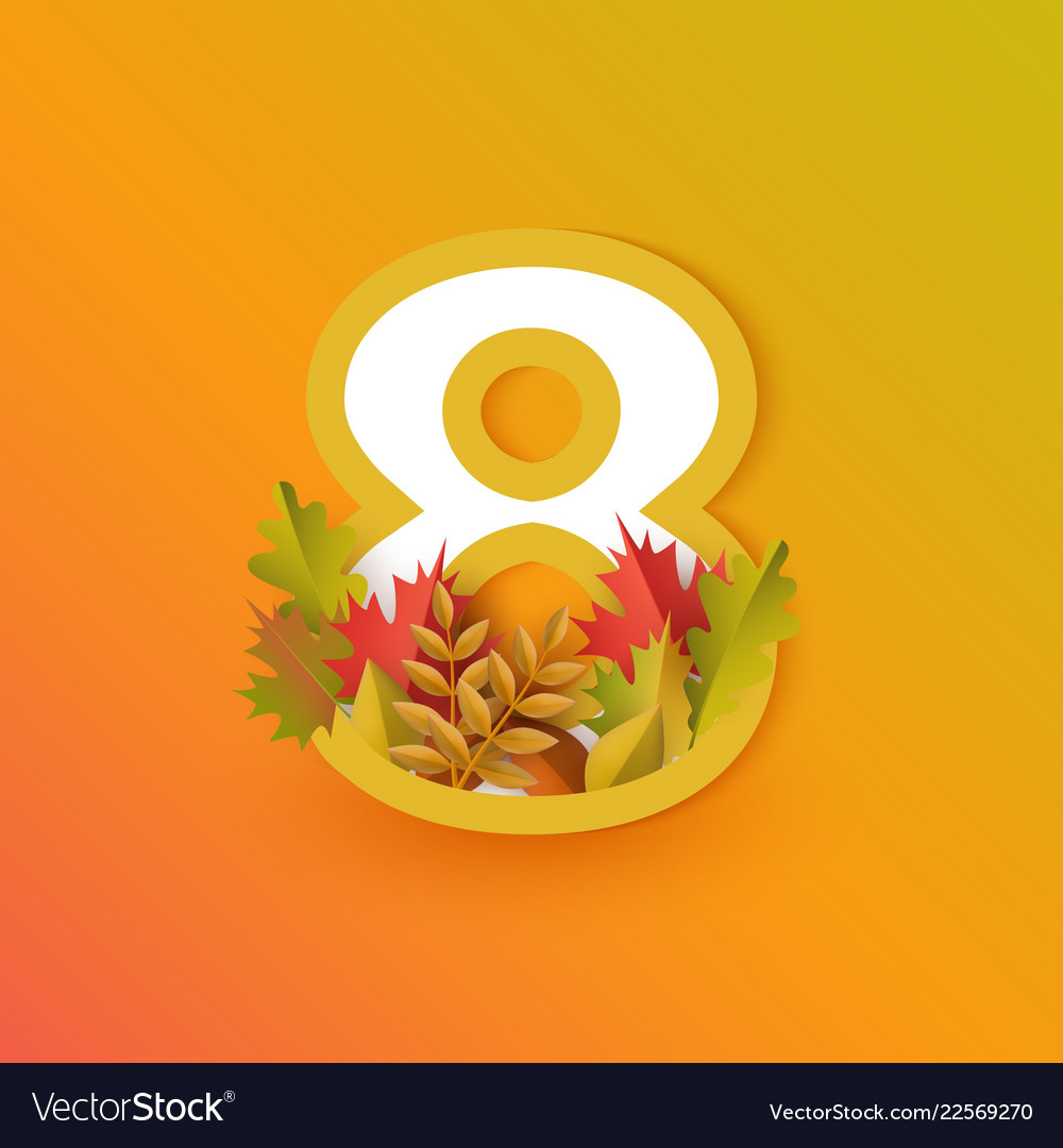 Autumn eight 8 number with forest leaves