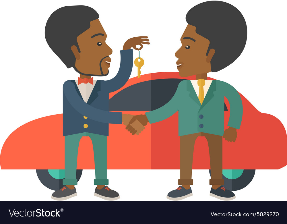 Black man handed a key to other black man