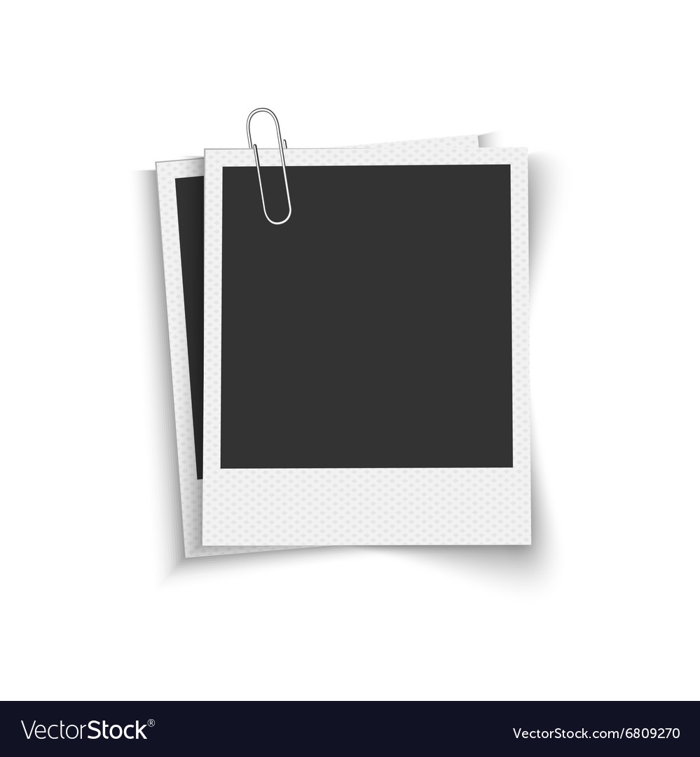 Blank photo frames with paper clip Royalty Free Vector Image