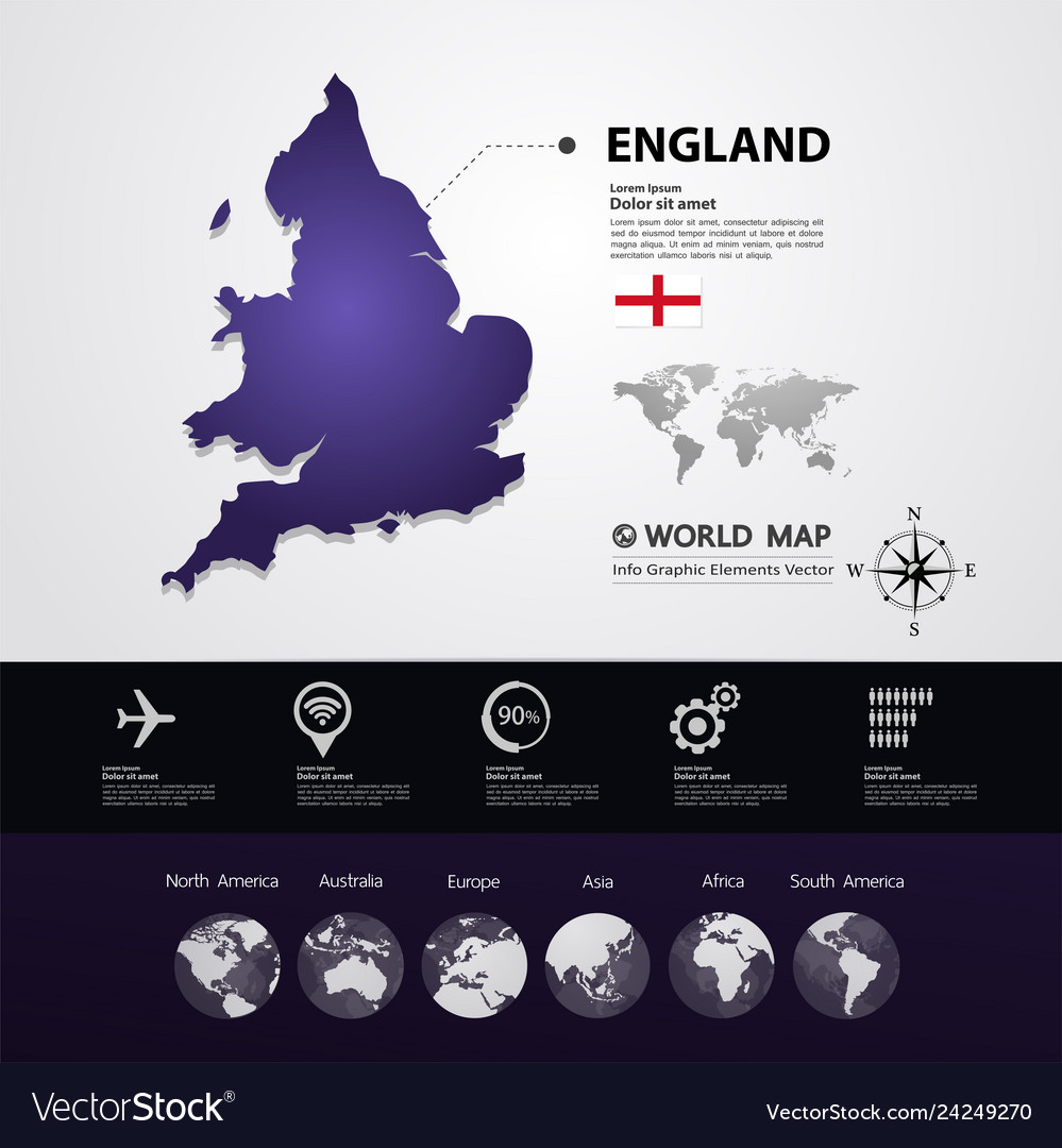 Map From England To Australia.England Map Vector Image