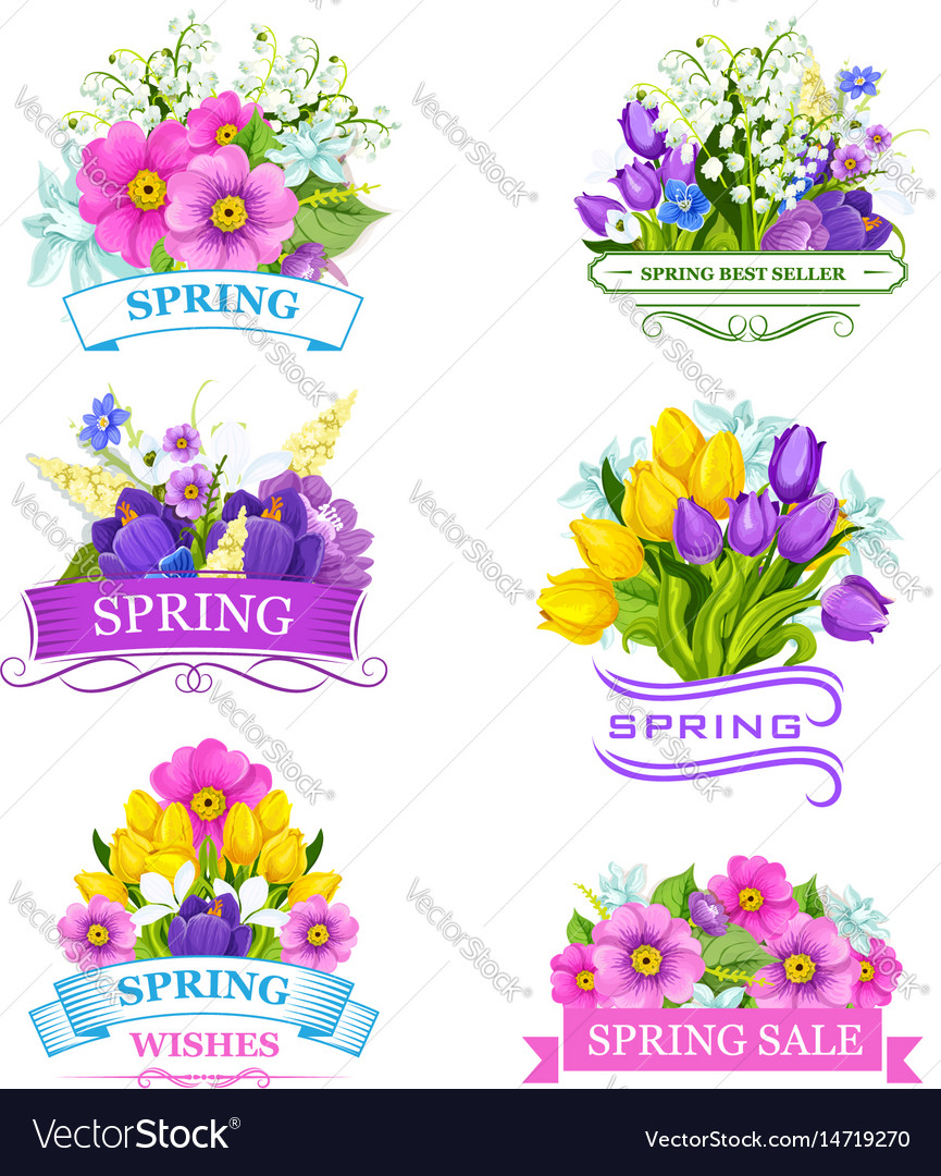 Icons Of Spring Flowers For Sale Labels Royalty Free Vector