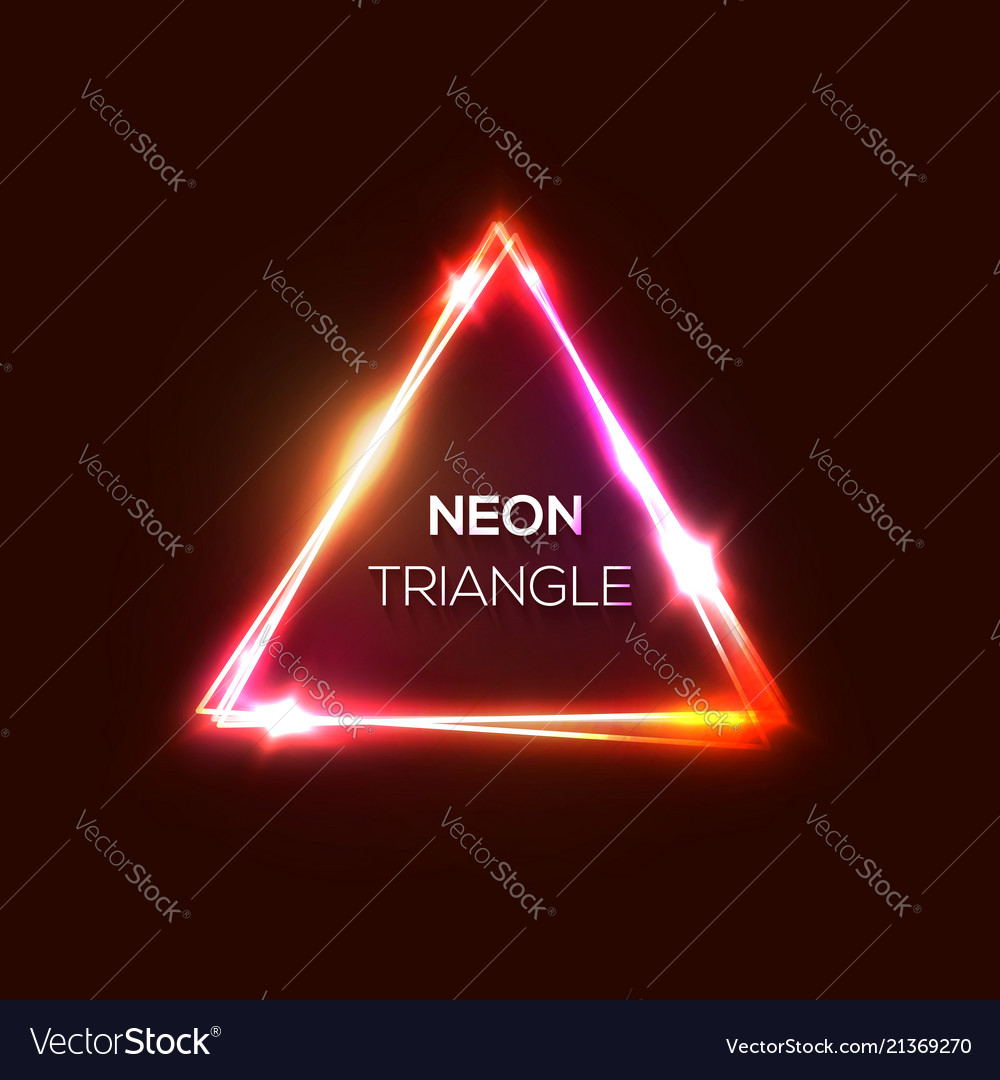 Neon sign red pink abstract triangle background