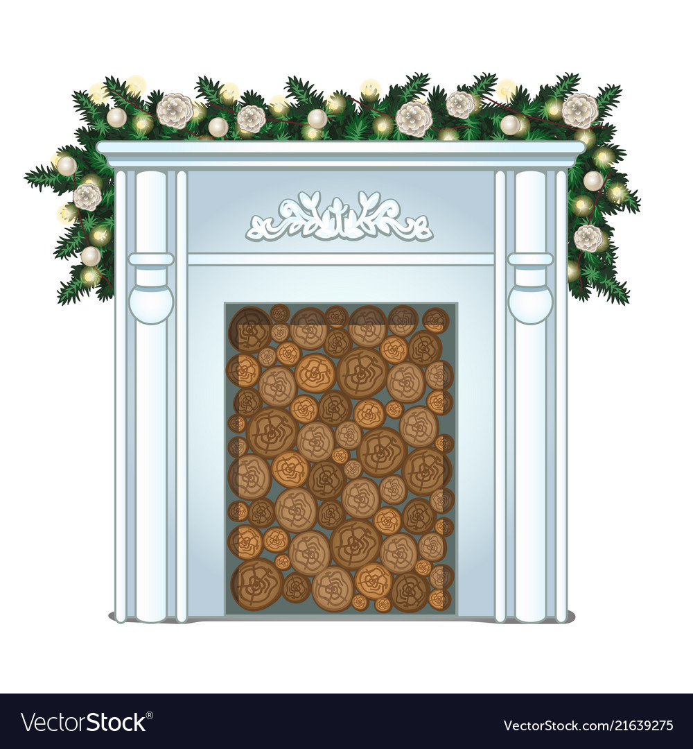 A stack of wood in the false fireplace without