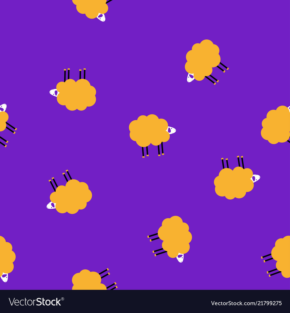 Cartoon disco sheep lilac pattern