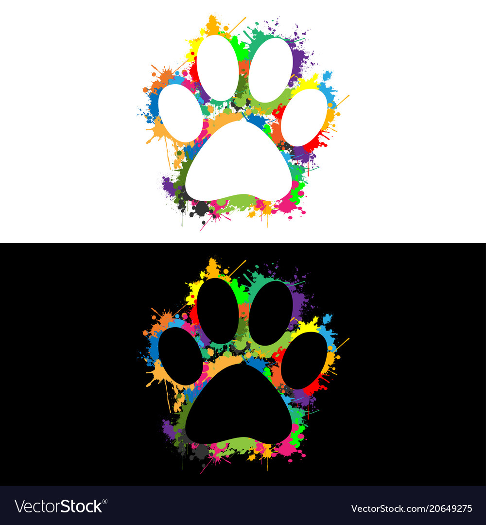 Colorful paw print