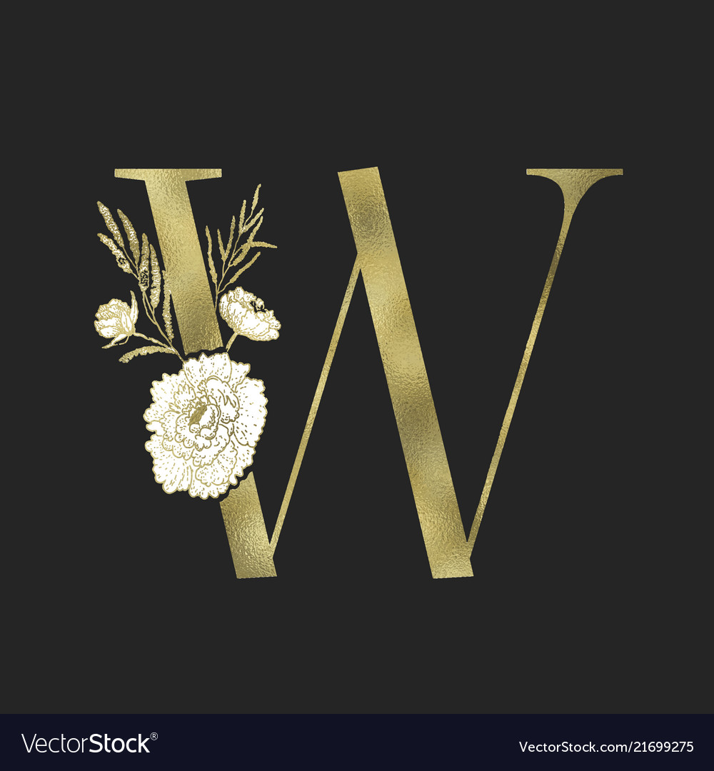 Floral alphabet and gold serif letter