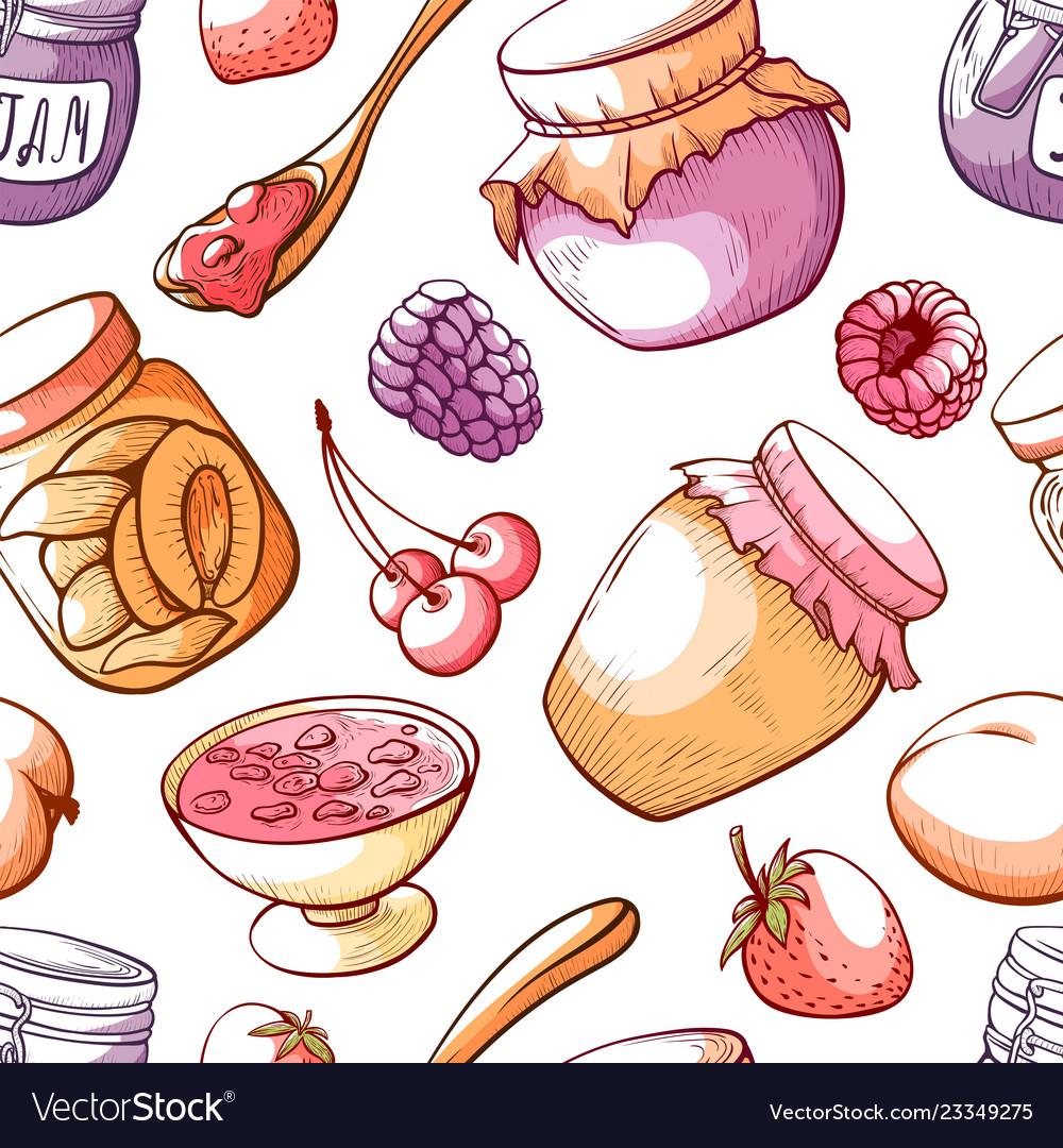 Jam and sweet fruit marmalade seamless pattern