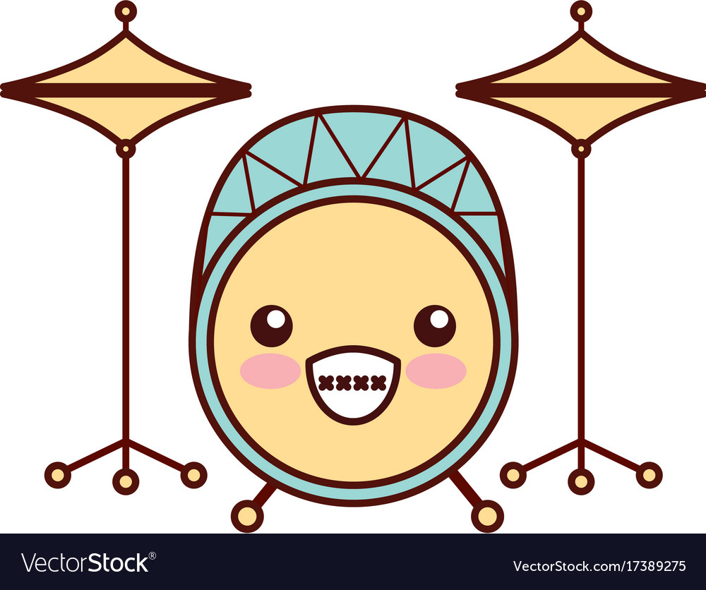 kawaii battery instrument musical icon royalty free vector rh vectorstock com Musical Abstract Vector Vector Sound of Music Musical Art