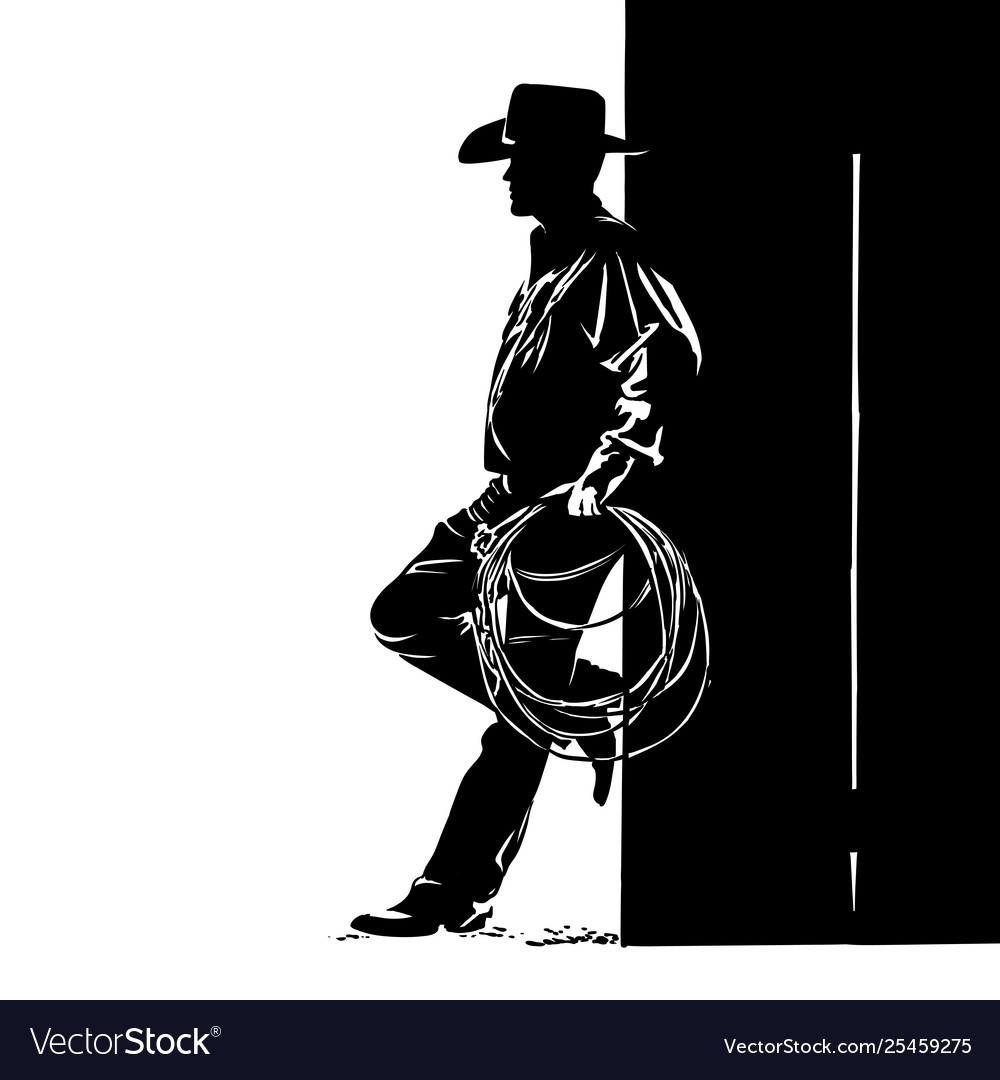 Man with cowboy hat and lasso digital sketch hand