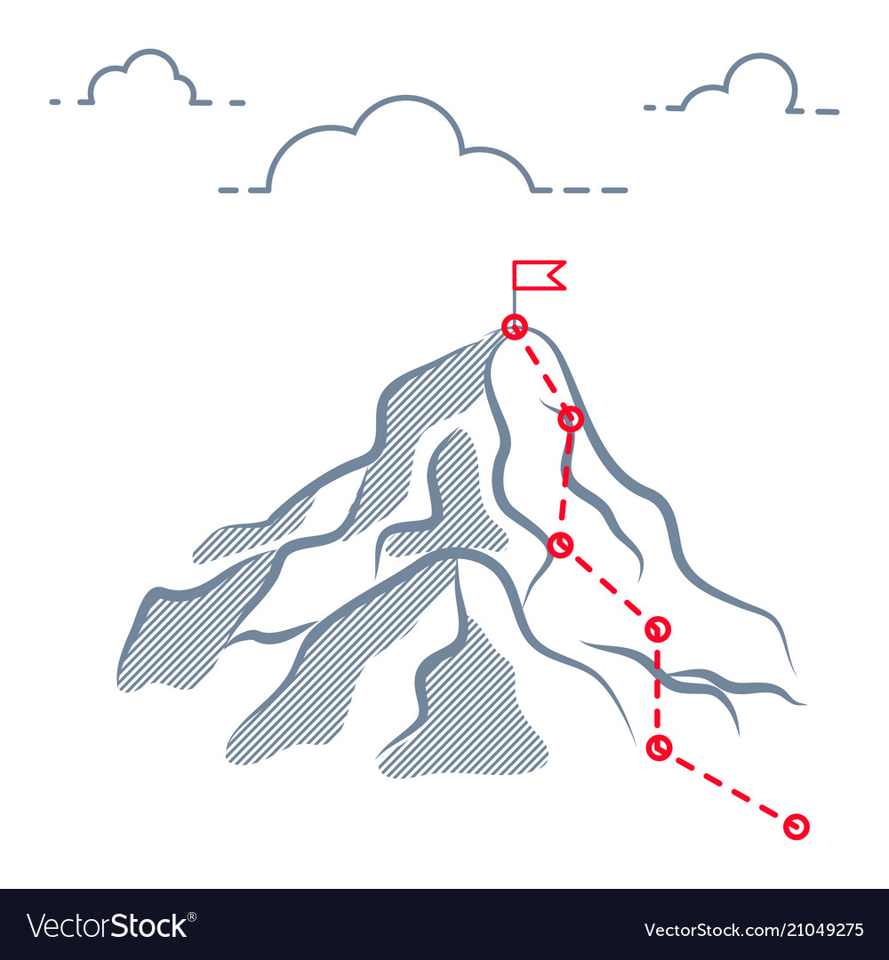 Mountain business journey climbing route to peak