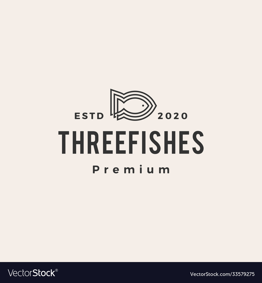 Three fish line outline hipster vintage logo icon