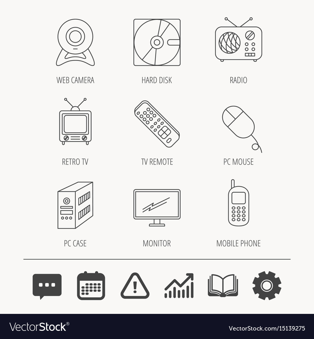 Web camera radio and mobile phone icons vector image on VectorStock