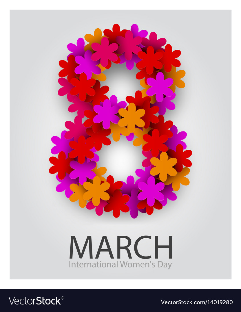 8 march beautiful flower number red floral
