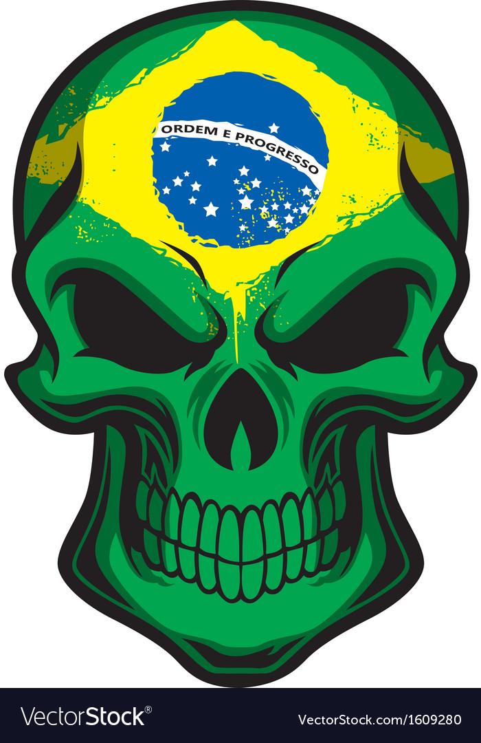 Brazil flag painted on skull vector image
