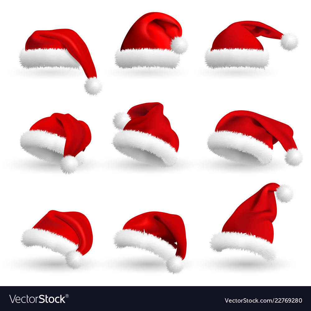 dbc79100233756 Collection of red santa claus hats isolated on Vector Image