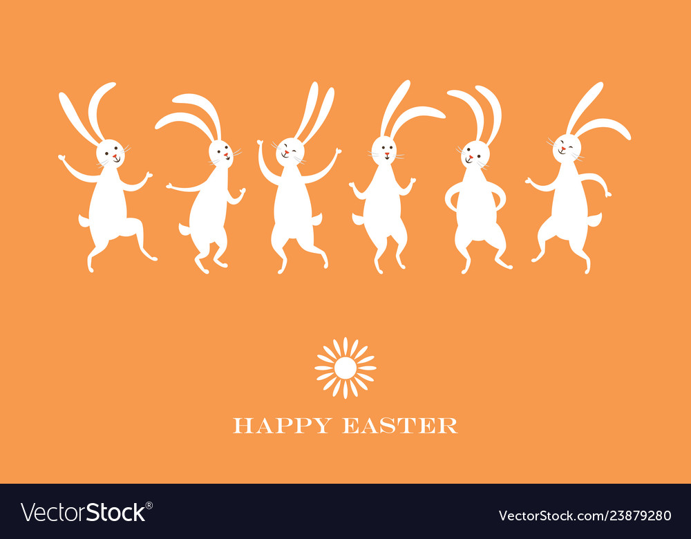 Easter card cute dancing bunnies