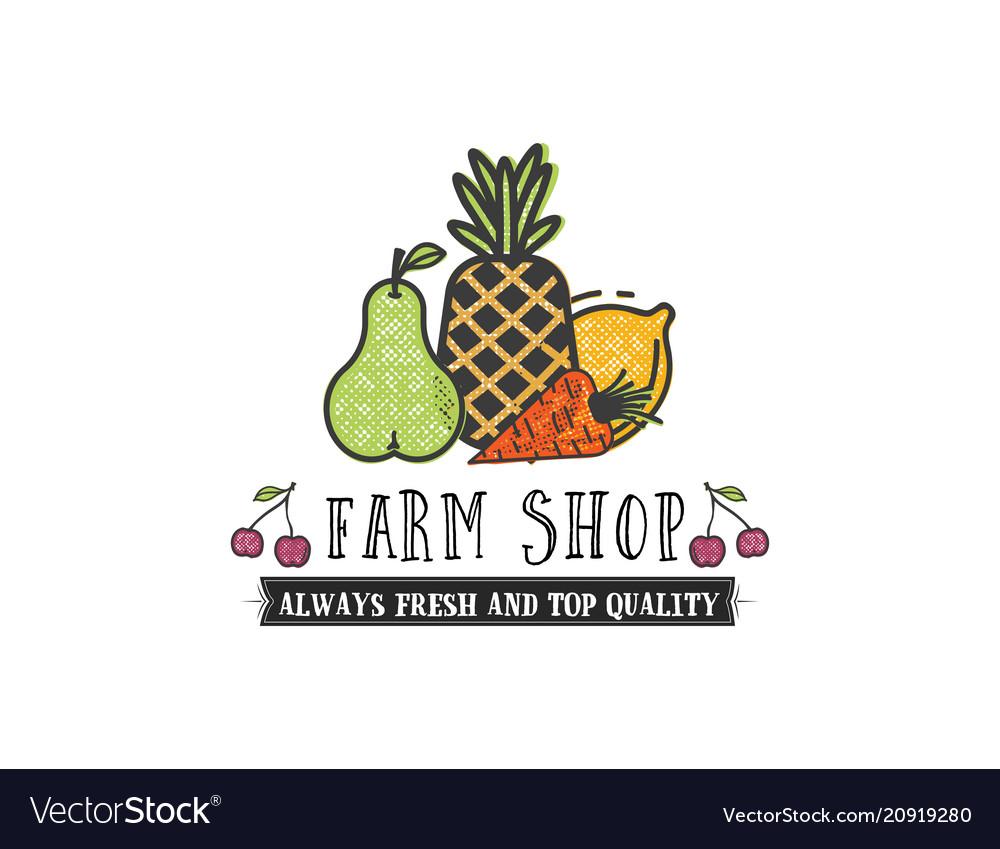 Fruits and vegetables vegetarian banner farm shop