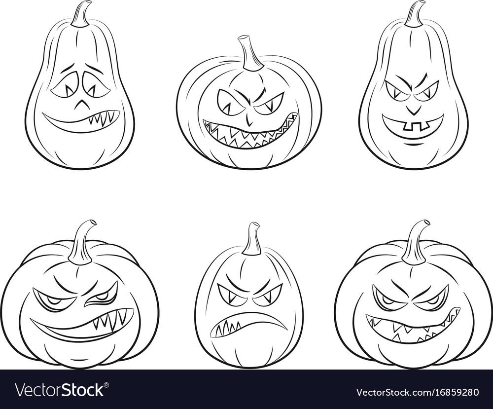Halloween pumpkins set contours